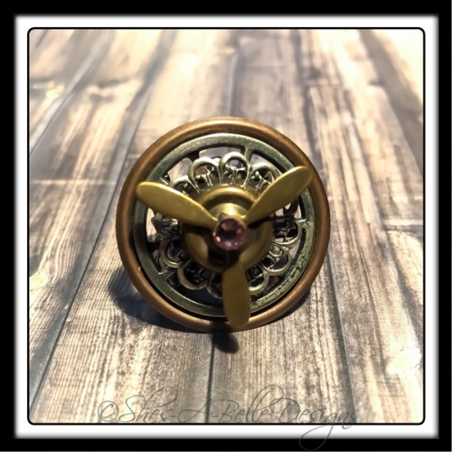 Airship Captain Propeller Ring in Antique Silver and Copper, Adjustable Steampunk Ring