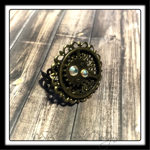 Gearhead Ring in Antique Bronze, Adjustable Steampunk Ring