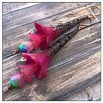 Party Fairy Flower Trumpet Drop Earrings n Antique Copper, Lucite Flower Earrings