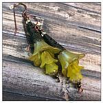 Citrus Fairy Flower Trumpet Trail Earrings in Antique Copper, Lucite Flower Earrings