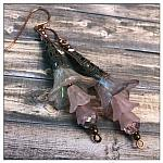 Canterbury Bell Fairy Flower Trumpet Trail Earrings in Antique Copper, Lucite Flower Earrings