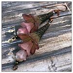 Springtime Fairy Flower Trumpet Trail Earrings in Antique Coppper, Lucite Flower Earrings