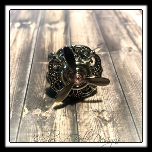 Airship Captain Propeller Ring in Antique Silver, Adjustable Steampunk Ring