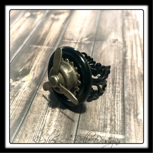 Airship Captain Propeller Ring in Black Powder Coat, Adjustable Steampunk Ring