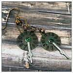Time Keeper's Earrings in Antique Bronze and Silver, Steampunk Style