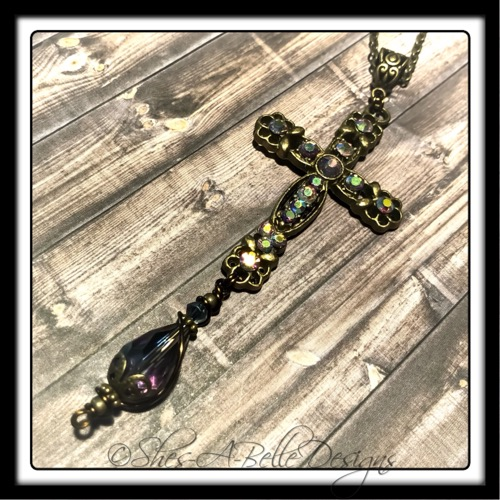 Shepherd's Cross Victorian Style Necklace in Antique Bronze, Swarovski Crystal Accents
