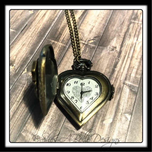 Key to My Heart Pocket Watch Necklace in Antique Bronze, Steampunk Style Necklace