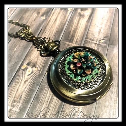 Secret Garden Pocket Watch Necklace in Antique Bronze, Victorian Pocket Watch
