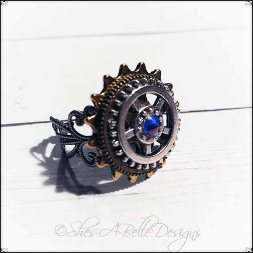Gearhead Ring in Antique Silver and Bronze, Adjustable Steampunk Ring