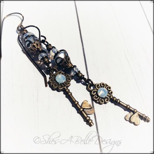 Antique Skeleton Key Charm Earrings in Antique Bronze, Steampunk Earrings
