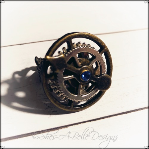 Gearhead Ring in Antique Bronze and Silver, Adjustable Steampunk Ring