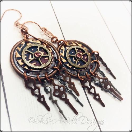 Time Keeper's Earrings in Antique Copper, Steampunk Style