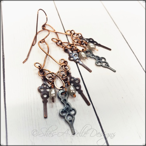 Time Keeper's Steampunk Earrings in Antique Bronze and Copper, Steampunk Earrings