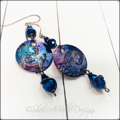 Handpainted Disc Earrings, Steampunk Inspired Jewelry
