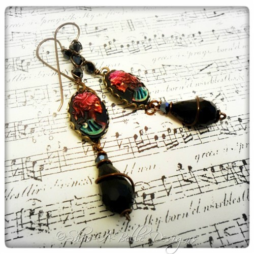 Dia de Los Muertos Gothika Steampunk Earrings in Antique Bronze, Gothic Style