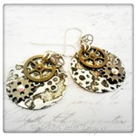 Gearhead Embossed Steampunk Earrings in Mixed Metals, Steampunk Style
