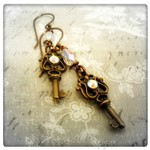 Antique Skeleton Key Charm Earrings in Antique Bronze, Steampunk Earrings