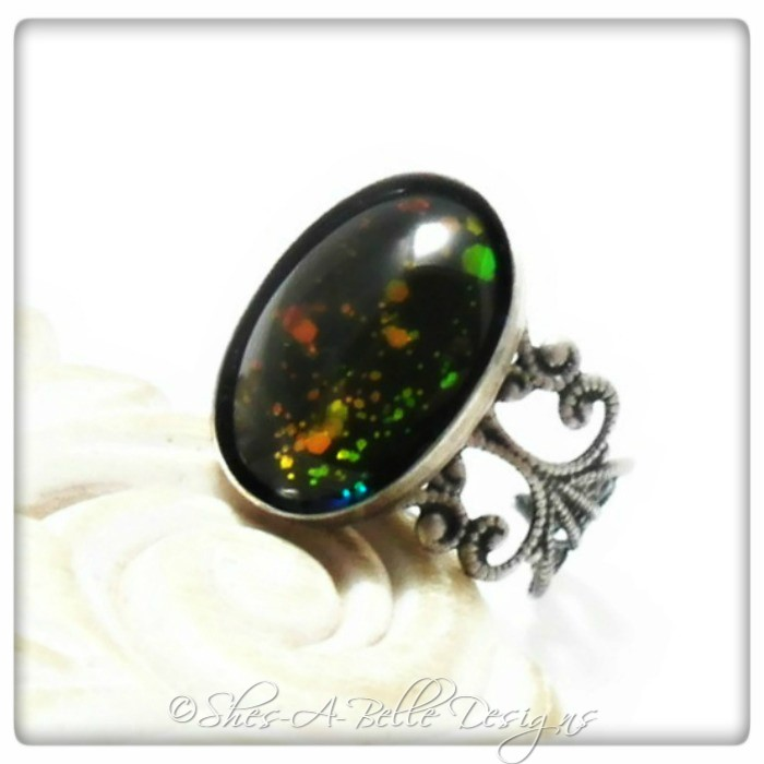 Starlight Holographic Ring in Antique Silver, Adjustable, Hand-painted Stone