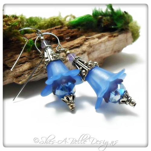 Forget-Me-Not Fairy Flower Drop Earrings in Antique Silver, Lucite Flower Earrings