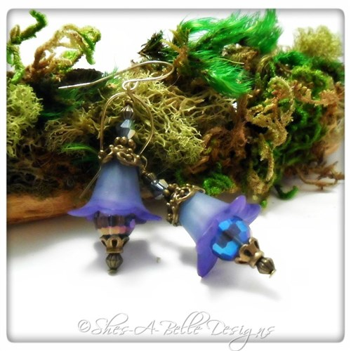 Blueberry Fairy Flower Drop Earrings in Antique Bronze, Lucite Flower Earrings
