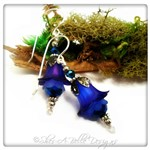 Blueberry Fairy Flower Drop Earrings in Antique Silver, Lucite Flower Earrings