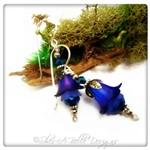 Blueberry Fairy Flower Drop Earrings in Antique Silver, Lucite Flower Earrings
