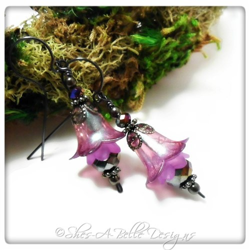 Canterbury Bell Fairy Flower Drop Earrings in Gunmetal, Lucite Flower Earrings