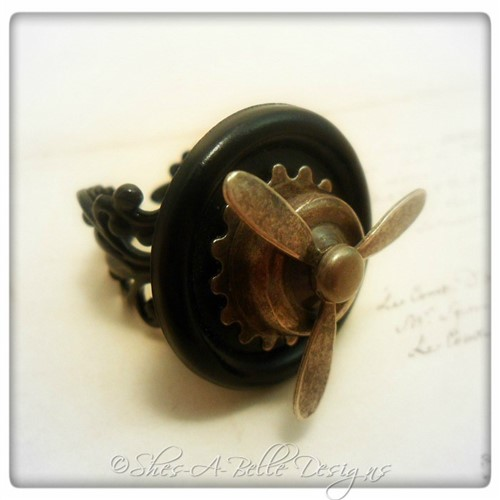 Airship Captain Propeller Ring #1 in Black Powder Coat, Adjustable Steampunk Ring