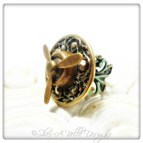 Airship Captain Propeller Ring #4 in Antique Bronze Patina, Adjustable Steampunk Ring