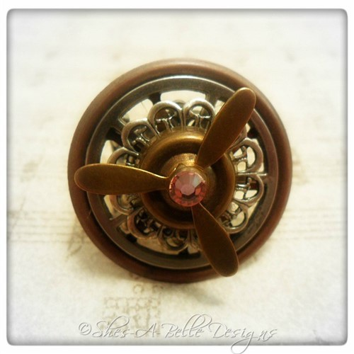 Airship Captain Propeller Ring #0 in Antique Silver and Copper, Adjustable Steampunk Ring