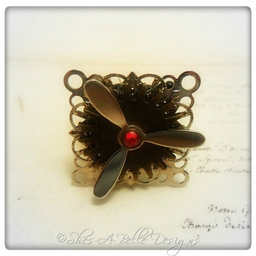 Airship Captain Propeller Ring #5 in Black Powder Coat, Adjustable Steampunk Ring