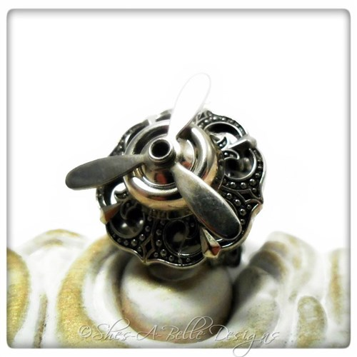 Airship Captain Propeller Ring #7 in Antique Silver, Adjustable Steampunk Ring