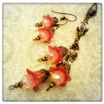 Cherry Cordial Fairy Flower Necklace and Earrings Set in Antique Bronze, Lucite Flowers