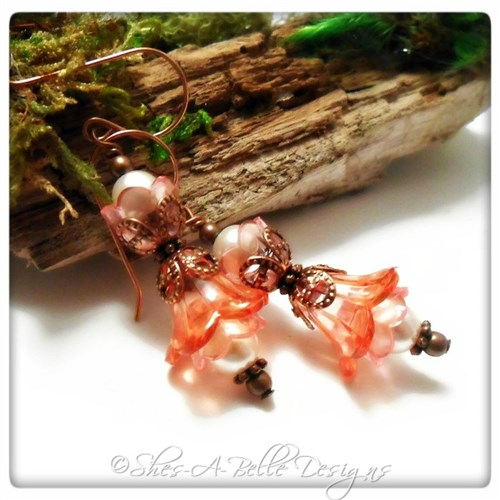 Cherry Blossom Fairy Flower Crystal Double Drop Earrings in Antique Copper, Lucite Flower Earrings