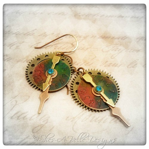 Time Keeper's Earrings in Antique Bronze and Antique Copper, Vintage Style