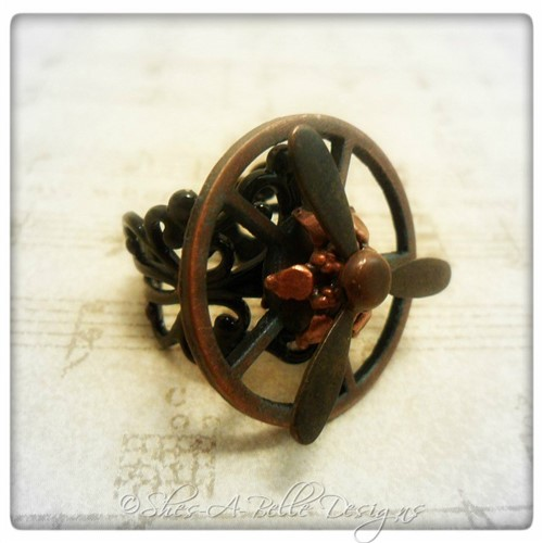 Airship Captain Propeller Ring #3 in Black Powder Coat, Adjustable Steampunk Ring