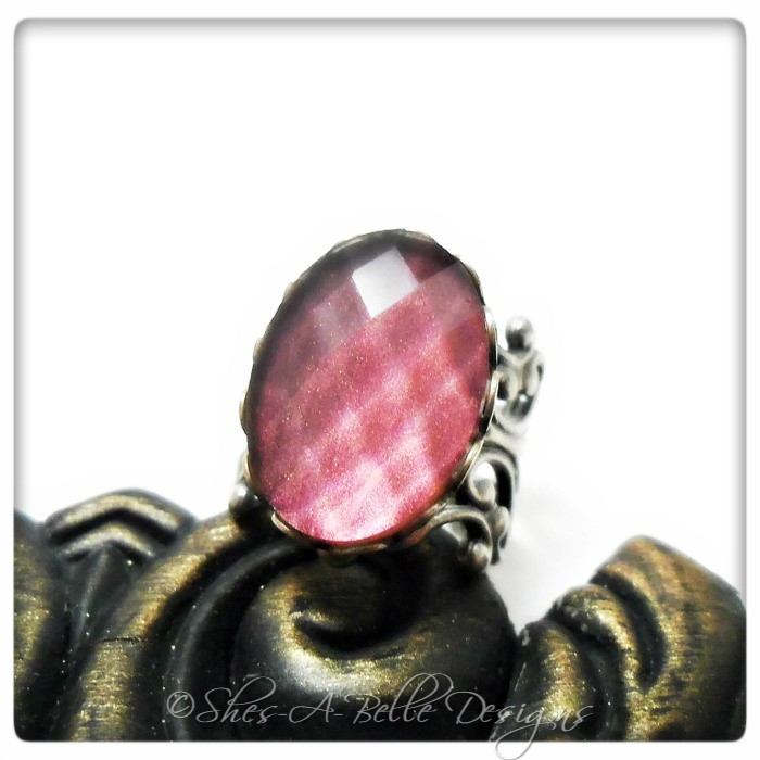 Lady Cora Victorian Style Ring in Antique Silver Filigree, Adjustable, Hand-painted Stone