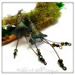 Dark Forest Fairy Flower Cascade Earrings in Gunmetal, Lucite Flower Earrings
