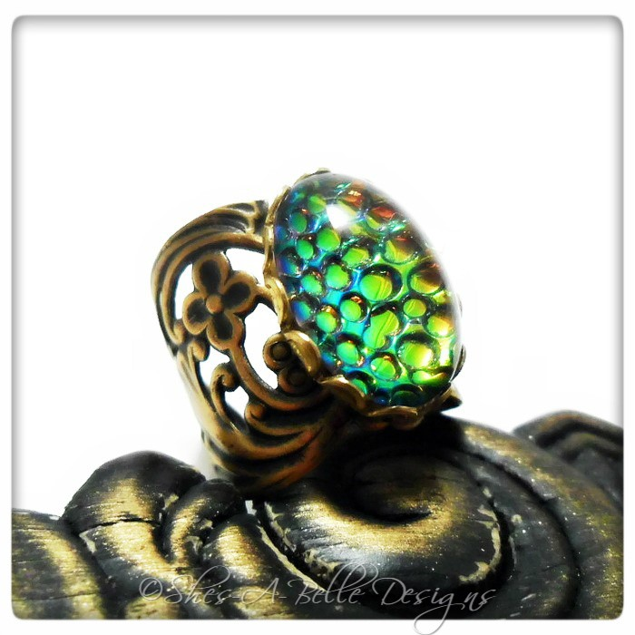 Dragon Scales Victorian Ring in Antique Bronze, Adjustable, Vintage Stone