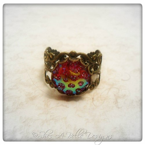 Dragon Scales Victorian Ring in Antique Bronze, Adjustable
