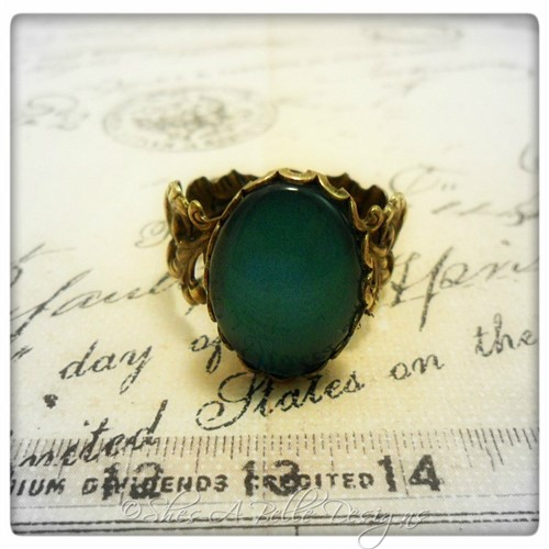Emerald City Ring in Antique Bronze, Handpainted Stone, Adjustable