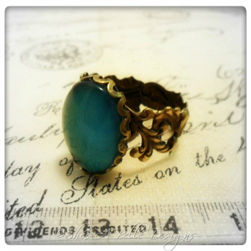 Emerald City Ring in Antique Bronze, Handpainted Stone, Adjustable