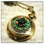 Secret Garden Pocket Watch Necklace in Antique Bronze, Victorian Pocket Watch