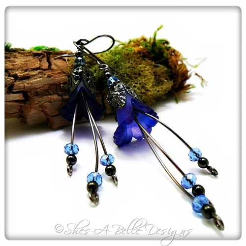 Forget-Me-Not Fairy Flower Cascade Earrings in Gunmetal, Lucite Flower Earrings