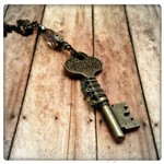 Found Key Necklace in Antique Silver and Gunmetal, Altered Steampunk Key Necklace