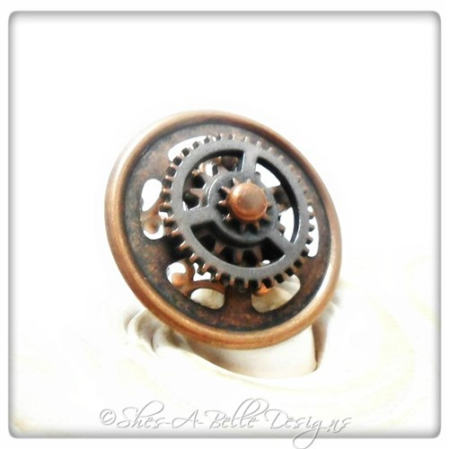 Gearhead Ring in Antique Copper, Adjustable Steampunk Ring
