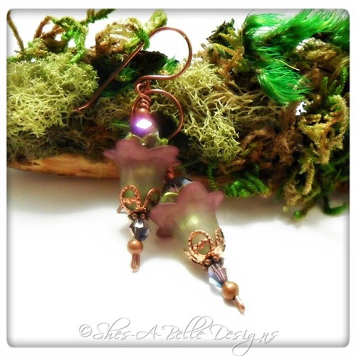 Wild Grapevine Fairy Flower Upside Down Earrings in Antique Copper, Lucite Flower Earrings