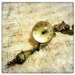 Butterfly Dreams Glass Ball Pocket Watch Necklace in Antique Bronze, Victorian Steampunk Pocket Watch