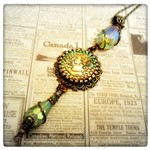 Victorian Elegance Green Cameo Necklace in Antique Bronze, Victorian Steampunk Necklace