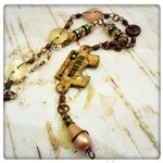 Here and Now OOAK Upcycled Rustic Puzzle Piece Necklace in Antique Bronze